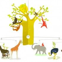 Djeco Enchanting Mobiles - The African Savannah Mobiles, Hanging Mobile, Hanging Art, African Animals, African Safari, Giraffe, Elephant, Toddler Sheets, Baby Mobile