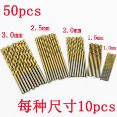 New 50Pcs/Set Twist Drill Bit Set Saw HSS High Speed Steel Titanium Coated Drill Woodworking Wood Tool 1/1.5/2/2.5/3mm For Metal