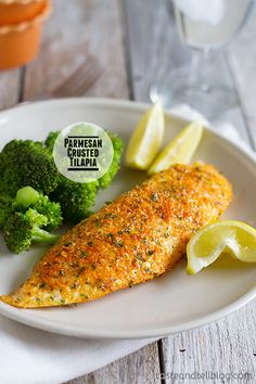 "Parmesan Crusted Tilapia | Taste and Tell ""A simple fish recipe that is done in 20 minutes and will even impress non-fish lovers!"""