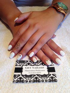 White nails with gold stud nail art! Instagram @alexaliberatore