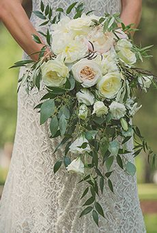Cascading Blush Bouquet of Garden Roses, Peonies, and Greenery   Wedding Flowers