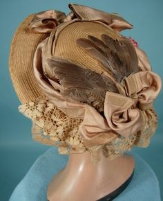 c. 1890's Natural Straw Hat with Bird Wings!