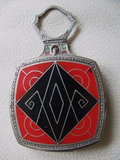Antique Art Deco Silver T Red Black Enamel Finger Ring Dance Compact EVANS | eBay