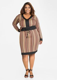 cb81d4726d5c Belted Corset Striped Dress. Plus Size ...
