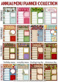 Seasonal dinner menu printables.  Print and laminate (or stick in a sheet protector or dry erase school folder).
