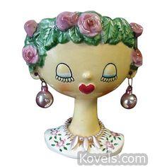 Holt-Howard Head Vase, Rose Bush Hair, Ball Earrings, Pearl Necklace, 4 1/4 In.
