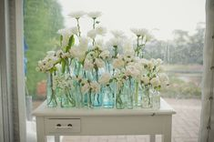 decorative table with  jars