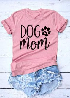 Dog Mom Funny Letter Printed T-Shirt Dog Paw Heart Tops Dog Mom Harajuku Crewneck Hipster Graphic Cotton Tee Mom pink Shirts Funny Shirts Women, T Shirts For Women, Harajuku, Dog Mom Shirt, Hipster, Vinyl Shirts, Custom Shirts, Fall Shirts, Personalized T Shirts