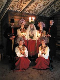 Lucia celebration with old, traditional folk costumes from Malung