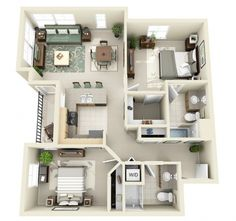 Two bedroom house plans by Crescent Ninth Street and Domaine At Villebois - Interior Design Inspirations 2 Bedroom Floor Plans, Two Bedroom House, Apartment Floor Plans, Two Bedroom Apartments, Master Bedrooms, 2 Bedroom House Design, Bedroom Small, Trendy Bedroom, Sims House Plans