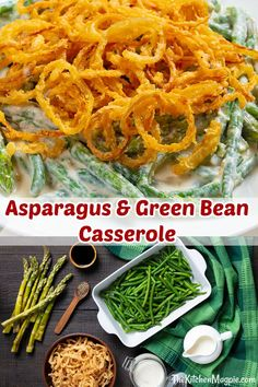 Shake up the classics and make thisAsparagus Green Bean Casserole for your holiday meal! #Thanksgiving #Christmas #greenbean #casserole #asparagus #mushroomsoup #recipe Supper Recipes, Easy Appetizer Recipes, Brunch Recipes, Bean Casserole, Casserole Recipes, Vegetable Dishes, Vegetable Recipes, Frugal Meals, Easy Meals