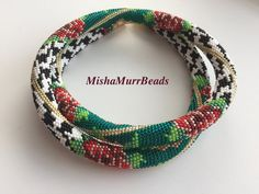 "Necklace ""Multicolor & Crow's Feet"" by MishaMurrBeads on Etsy"