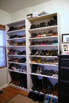 Thrift and Shout: A Peek Into My Closet Room - IKEA Billy bookcases house the shoes Room Closet, Walk In Closet, Ikea Billy Bookcase, Bookshelves, How To Build A Log Cabin, Log Cabin Kits, Surprises For Husband, Closet Organization, Shoe Organizer