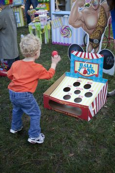 Ball toss game at the Carnival Party. I think we can convert this to a baseball toss (softy balls, of course) Carnival Activities, Carnival Games For Kids, Circus Carnival Party, Circus Theme Party, 5th Birthday Party Ideas, Carnival Birthday Parties, Carnival Themes, Circus Birthday, Ball Birthday