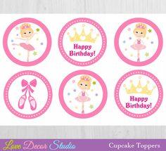 Ballerina Cupcake Toppers Printable - Birthday Cupcakes
