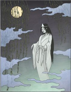 Yūrei: ghost.  Pictured is a typical vengeful female spirit wearing white burial robes and head ornament. Summertime is ghost season in Japan!