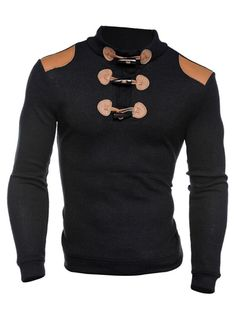 Shoulder Patch Claw Button Long Sleeve Ribbed Sweater