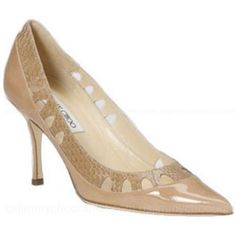 Jimmy Choo Patent Shoes With Elaphe Snakeskin Trim Black