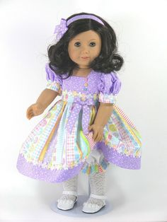 Handmade American Girl Doll Dress Novelty Stripe Lavender Hearts - Exclusively Linda Doll Clothes