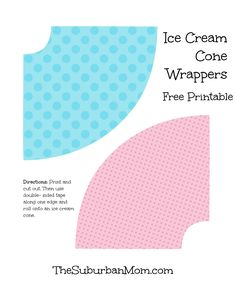 Pink Blue Ice Cream Cone Wrappers