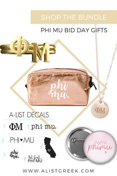 Make your new sisters feel loved by showering them with the trendiest Phi Mu swag specifically chosen by you to fit your chapter's theme and budget. Shop now at www.alistgreek.com! #biddaygifts #sororitybidday #phimubidday #phimu #buildyourown #custom #bidday #bundle #phimugifts #greekletterjewelry #sororitygifts