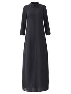 Женщины сексуальная Сплит черного шифона длинные свободные платье макси