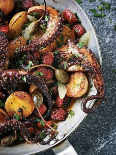 Roasted Octopus with Chorizo, Potato and Caper Berries