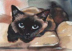Siamese CAT Original Watercolor Painting CAT ART Brown Blue Eyes Kitty Kitten | eBay