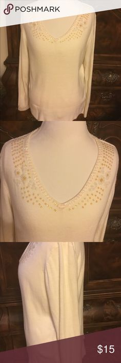 Attractive Worthington Cream Sweater wBeading SzXL Worthington Cream/Winter White Colored Sweater with Beading & Sequins Sz XL. Beading around neck,chest,bottom,and cuffs. Dont think I ever wore it either worn once or new. Worthington Tops