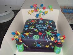 Firework Cake — Birthday Cakes cakepins.com 12th Birthday Party Ideas, Happy 13th Birthday, 5th Birthday, Birthday Cake With Candles, Cool Birthday Cakes, Beautiful Cakes, Amazing Cakes, Bonfire Night Cake, 4th Of July Cake