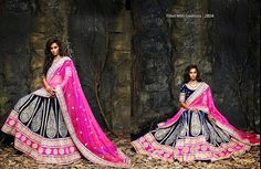 Beautiful collection of Velvet Wedding Lehenga with heavy embroidery work en-crafted in Pink and Blue color. Along with Contrast Matching Netted Duppatta and Velvet Blouse.