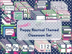 Kendalls Editable Preppy Nautical Themed Classroom Set from Kreating for Kids on TeachersNotebook.com -  (93 pages)  - Editable Nautical Themed Classroom Set