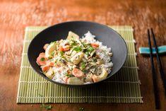 Thailändisches Pak Choi-Kokosmilch-Gemüse mit Jasminreis