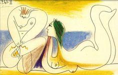 """PABLO PICASSO (1881-1973): SUR LA PLAGE (1961) """"Már gyerekkoromban úgy rajzoltam, mint egy zseni, de csak öregkoromban tanultam meg úgy rajzolni, mint a gyerek."""" Pablo Picasso"""