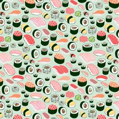 sushi love - kristin nohe | surface design | illustration | hand lettering