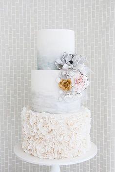 white and silver wedding cake ~ we ❤ this! moncheribridals.com #weddingcake
