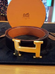 "Size 38"" - Men's Reversible Cowhide and Black Belt with Box, Pre-Owned and Used, AS-IS Condition"