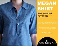 PDF Sewing pattern:  Create this beautiful 70's trend inspired Megan Shirt.  Sizes from 4 to 22.  Four styling options: short and long sleeves, tunic and shirt lengths. (scheduled via http://www.tailwindapp.com?utm_source=pinterest&utm_medium=twpin&utm_content=post57551708&utm_campaign=scheduler_attribution)