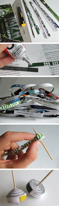 to make these paper tops you will need some old newspapers and toothpicks.