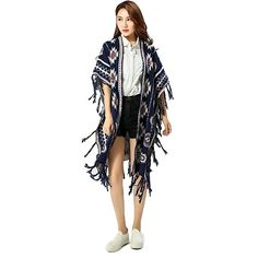 Morality Charm Women Love Long Jacquard Cape Tassel Sweater Shawl Knitted Jacket