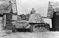 An SdKfz 164 Nashorn tank destroyer with the powerful 88mm gun, laying in wait of it's next  unfortunate victim.