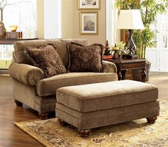 Moonglow by ivgStores Chair and A Half and Ottoman Set in | ShopLadder