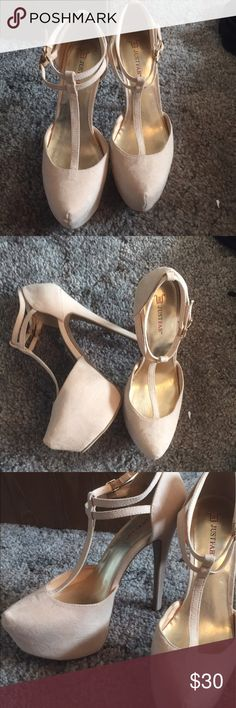 Brand New Beige Platform Heels Sz. 8.5 Brand new, tried on once JustFab Heels, I bought them but never have had the chance to wear them out. Super cute! True to size. JustFab Shoes Platforms