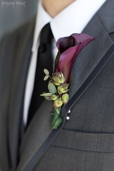Succulent Boutonniere with Purple Calla Lily :: Empire West Photo