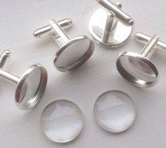 NEW ARRIVAL!!!!  brass tray 16mm glass insert 16mm  Metal - Brass Silver platted  You will receive-  12pcs - 16mm bezel round cufflink 12pcs -