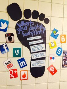 Create this digital footprint replica for the computer or technology theme classroom! Create this digital footprint replica for the computer or technology theme classroom! Computer Lab Decor, Computer Lab Classroom, Computer Teacher, Computer Lessons, Computer Bulletin Boards, Computer Theme, Technology Bulletin Boards, Computer Science, Business Education Classroom