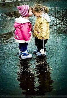 .Friends, siblings, kids, rain   simple and easy :)