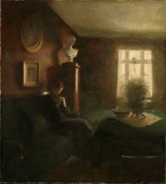 Interior with a Sewing Girl - Carl Holsøe Danish 1863-1936 Oil on canvas, 67 x 61 cm