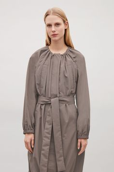 COS image 5 of Coat with drawstring neck in Taupe