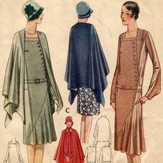 1920s dress and cape pattern  McCall 5396 by PatternVault on Etsy